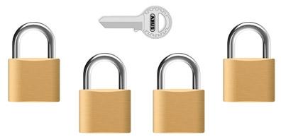 Hengelåser som kan leveres med samme nøkkel (Flere låser - en nøkkel)